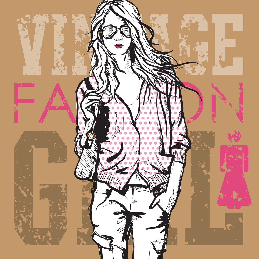 Lovely Girl In Sketch-style On A Grunge Background. Vector Illustration