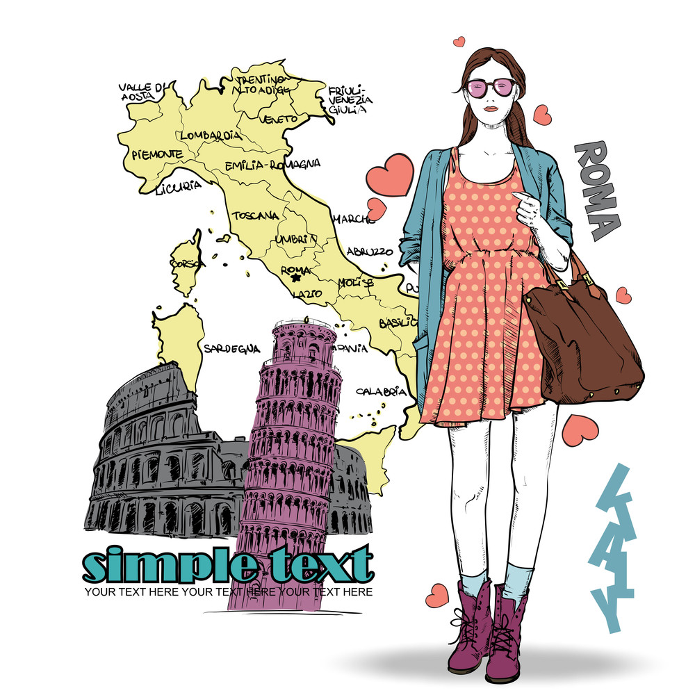 Lovely Girl In Sketch-style On A Italien Background. Vector Illustration