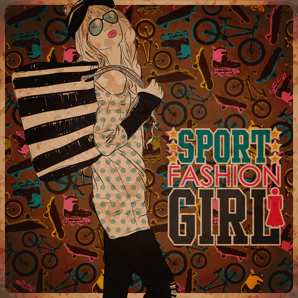 Lovely Girl In Sketch-style On A Sports Background. Vector Illustration