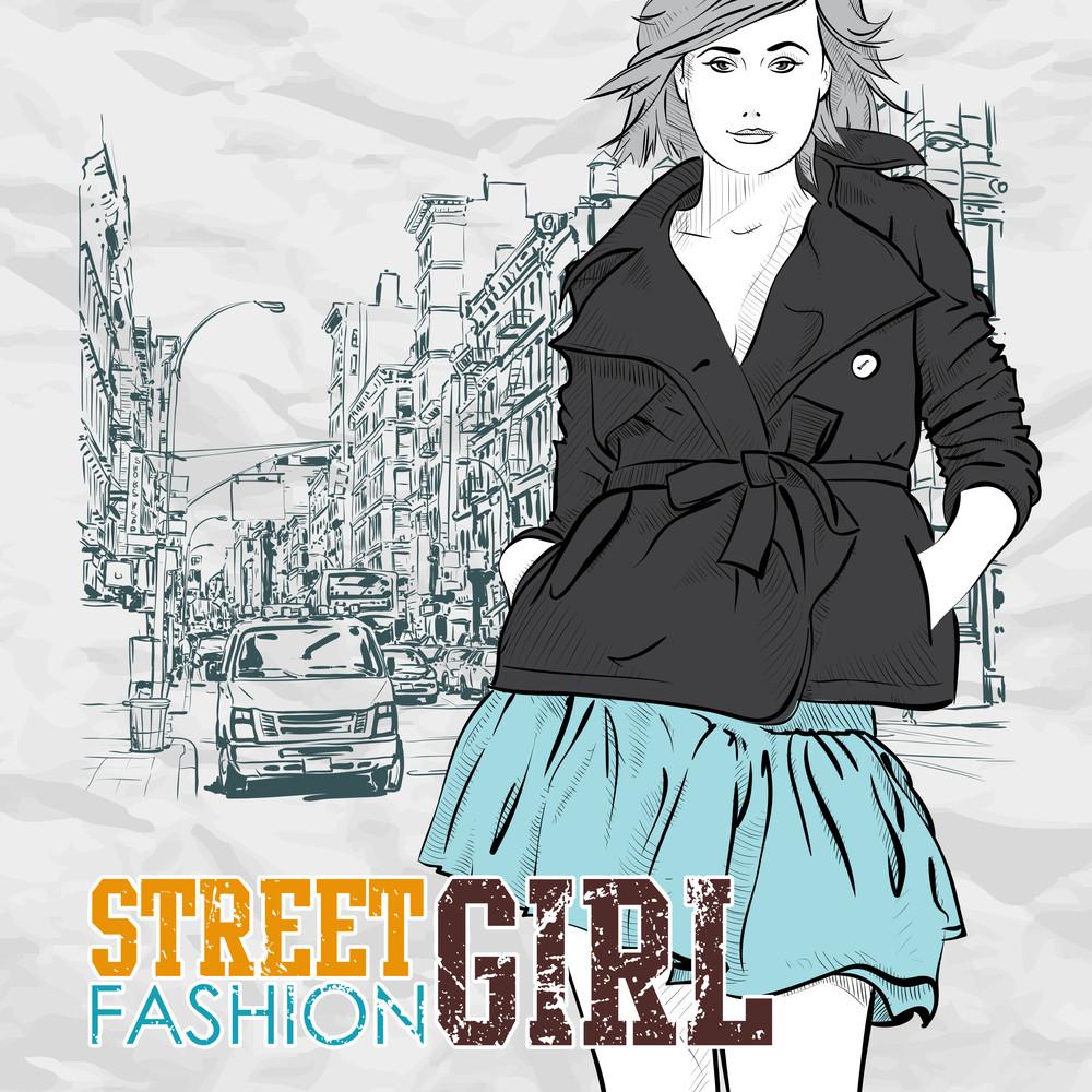 Lovely Girl On A Street Background. Hand Drawn Vector Illustration