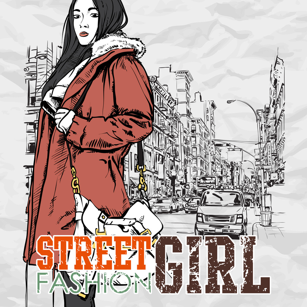 Lovely Girl On A Street Background. Hand Drawn Vector Illustration