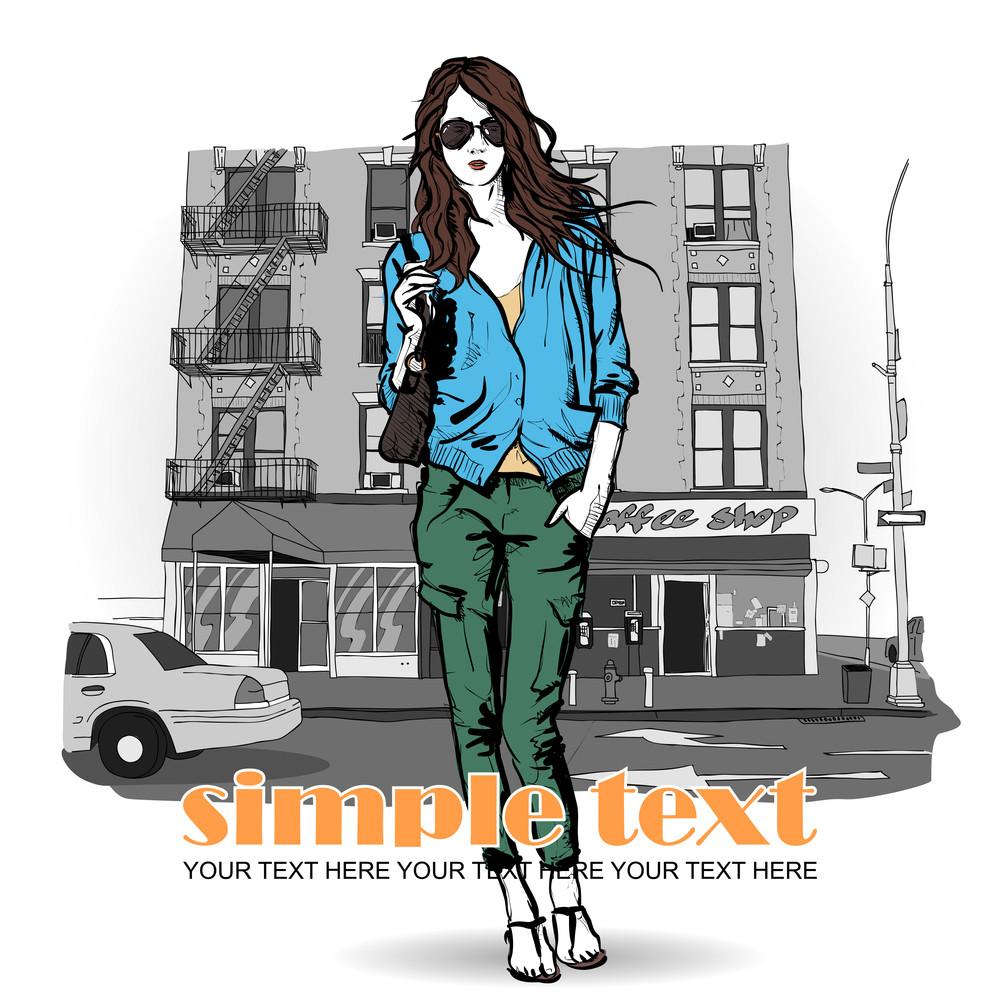Lovely Girl On A Street Background. Vector Illustration