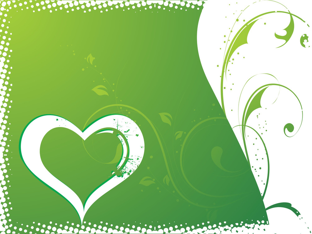 Lovely Heart With Flower Background