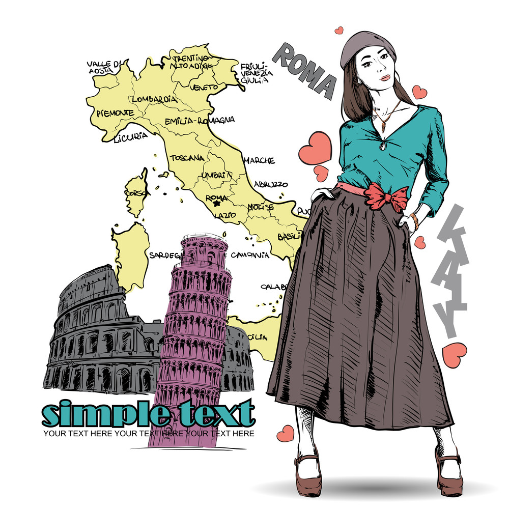 Lovely Spring Girl In Sketch-style On A Italien Background. Vector Illustration