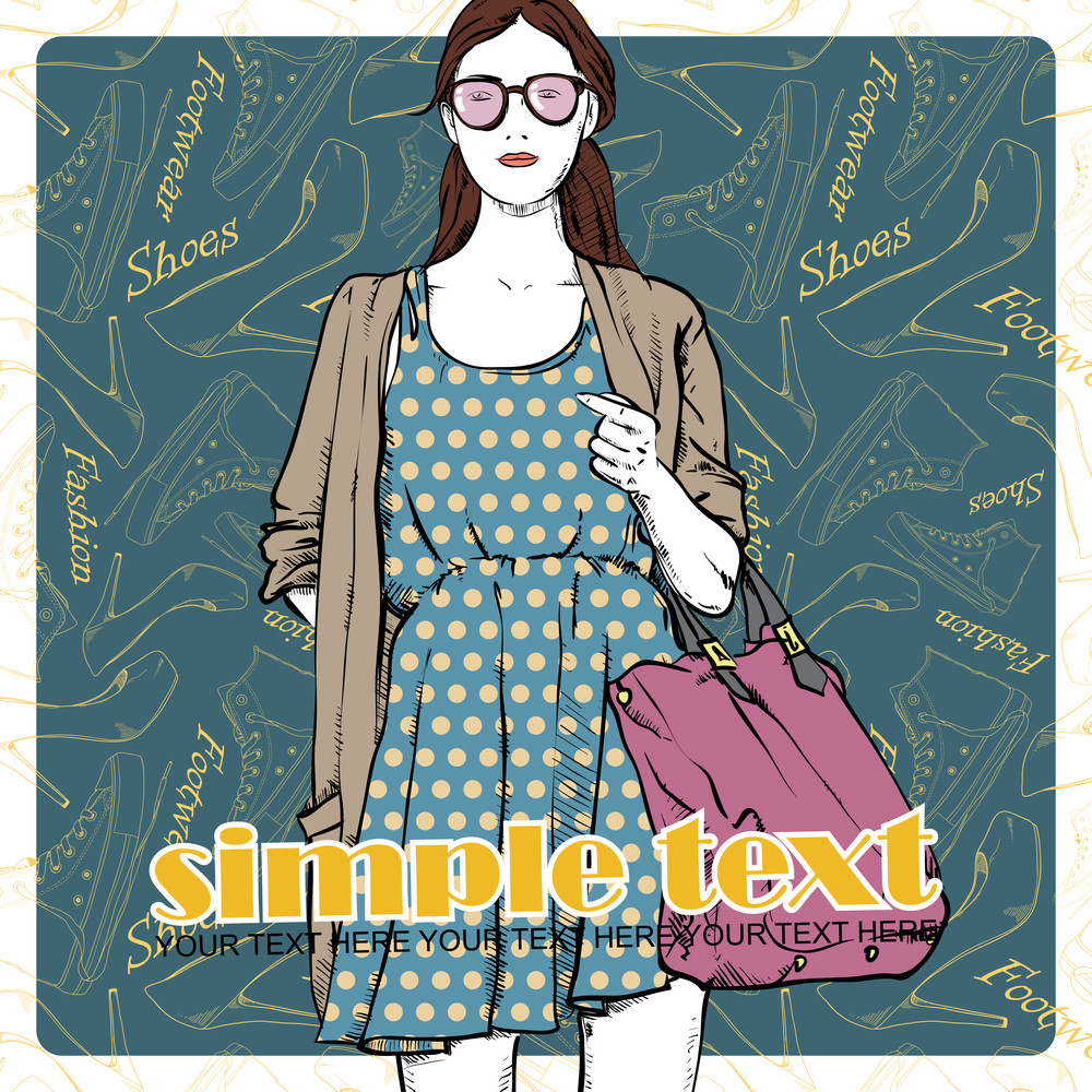 Lovely Summer Girl In Sketch-style On A Footwear Background. Vector Illustration