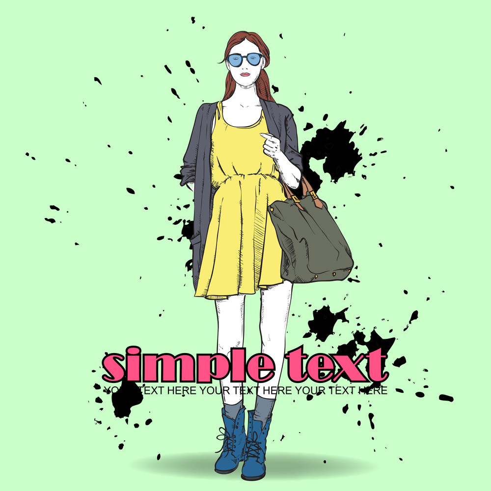 Lovely Summer Girl In Sketch-style On A Grunge Background. Vector Illustration