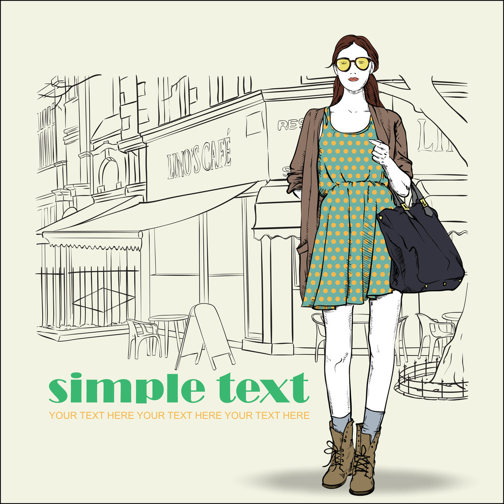 Lovely Summer Girl In Sketch-style On A Street Cafe Background. Vector Illustration