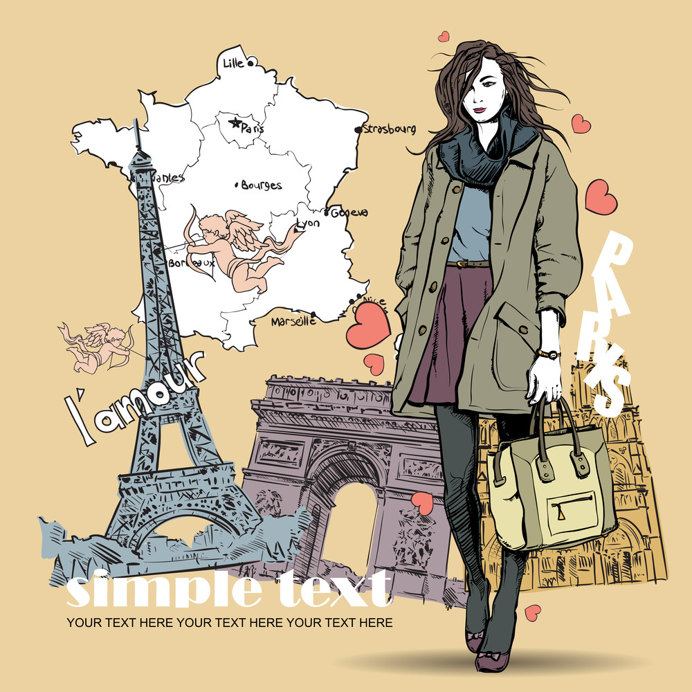 Lovely Winter Girl In Sketch-style On A French Background. Vector Illustration