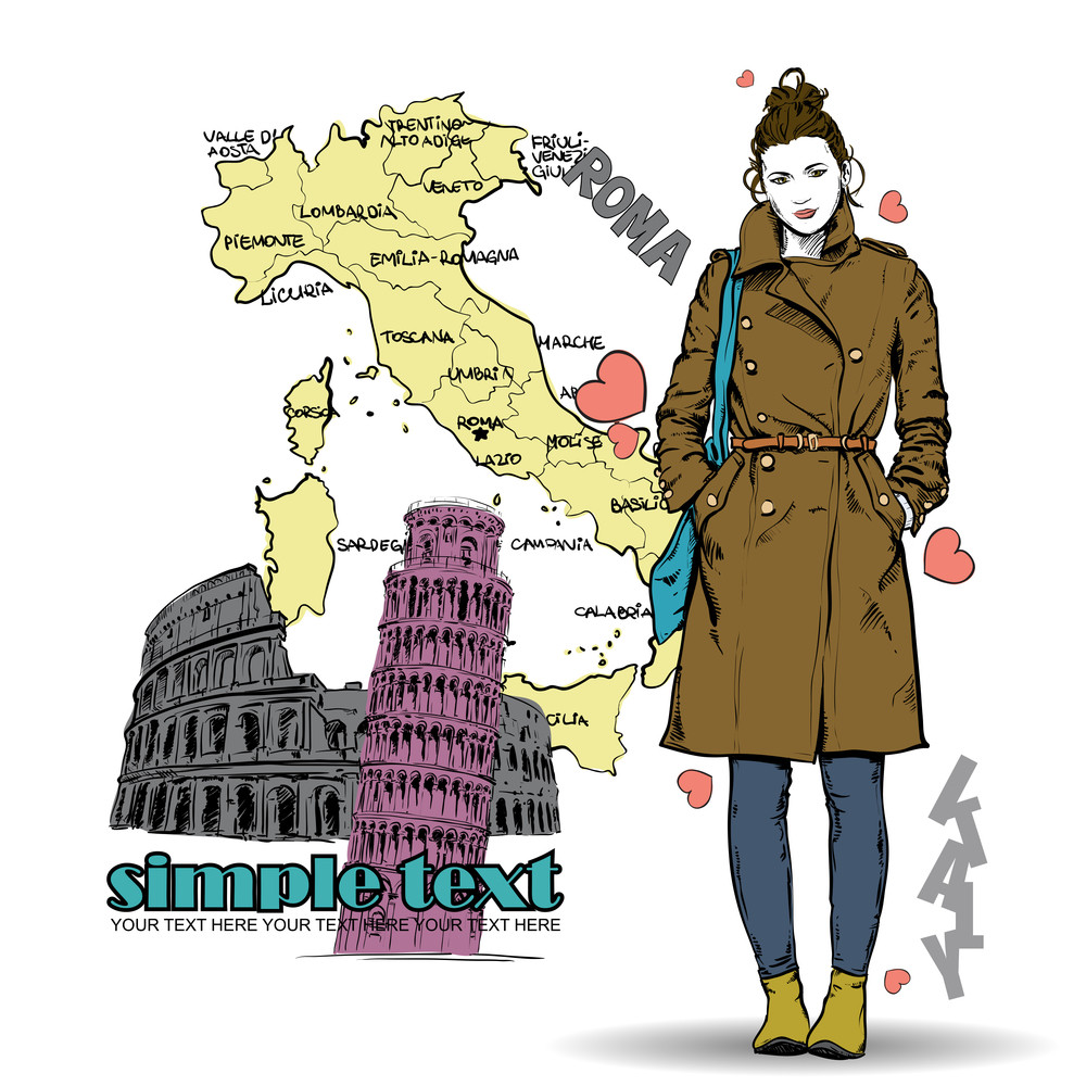 Lovely Winter Girl In Sketch-style On A Italien Background. Vector Illustration