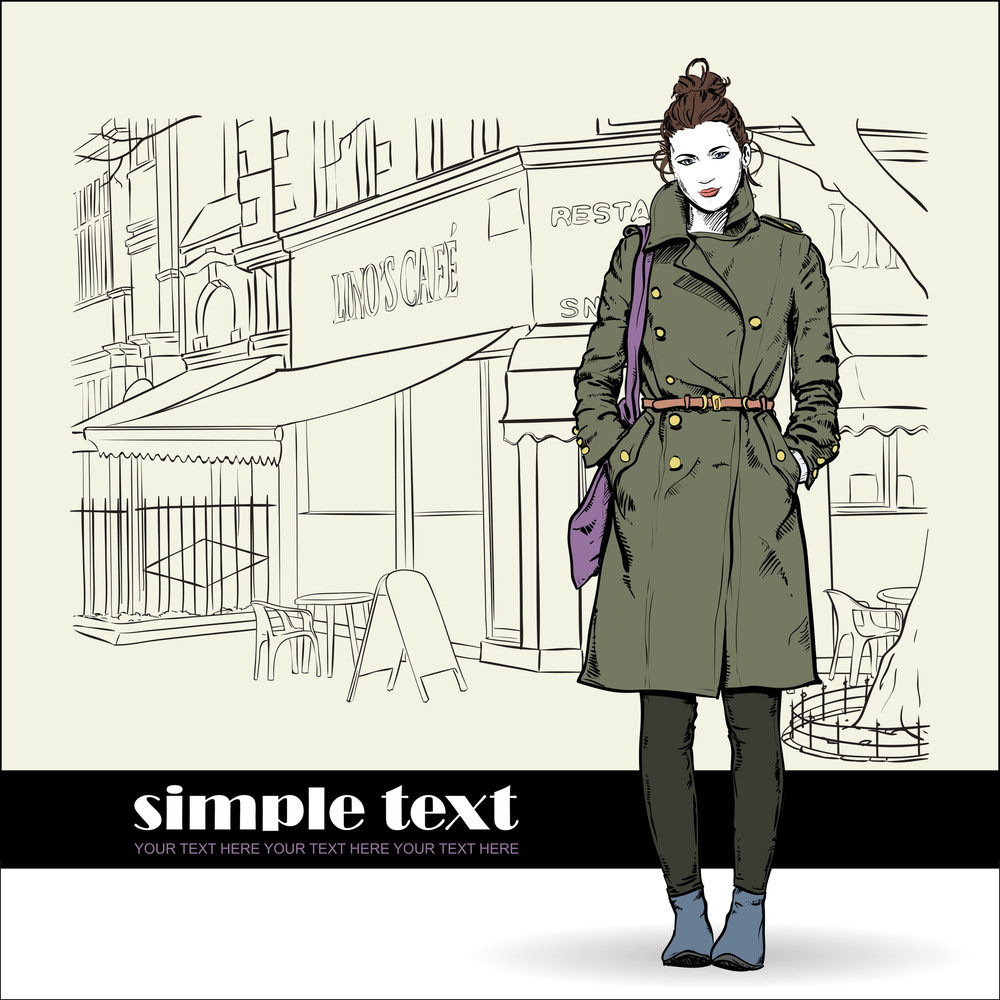 Lovely Winter Girl In Sketch-style On A Street Cafe Background. Vector Illustration
