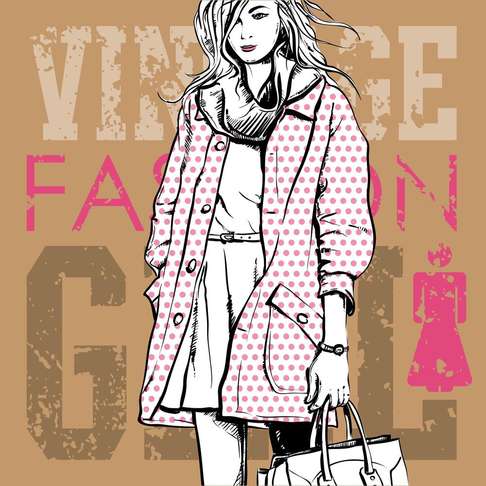Lovely Winter Girl In Sketch-style. Vector Illustration
