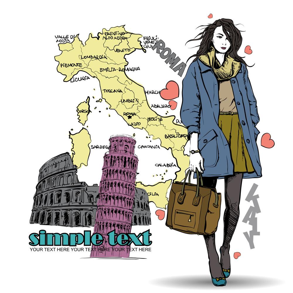 Lovely Winter Girl On A Italien Background. Vector Illustration