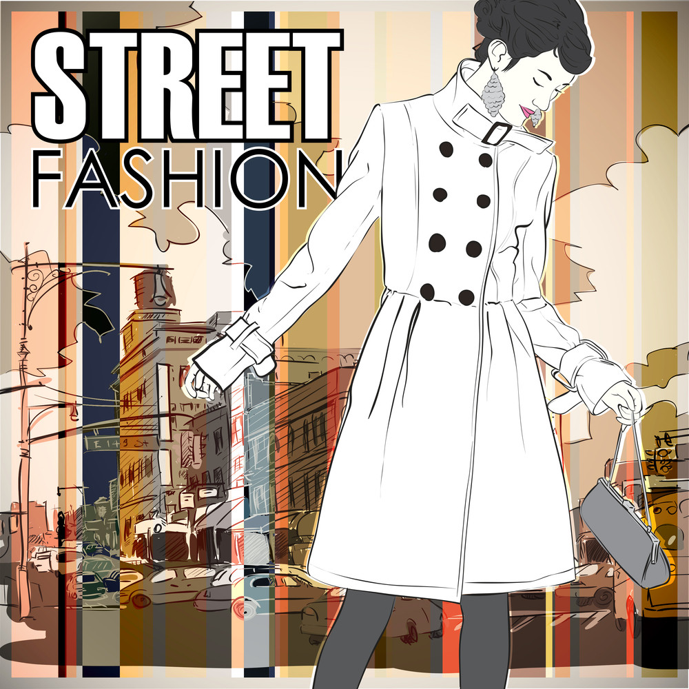 Lovely Winter Girl On A Street Background. Vector Illustration