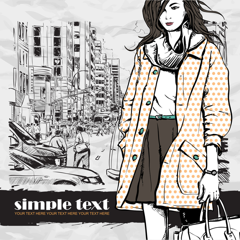 Lovely Winter Girl On A Street Background. Vector Illustration