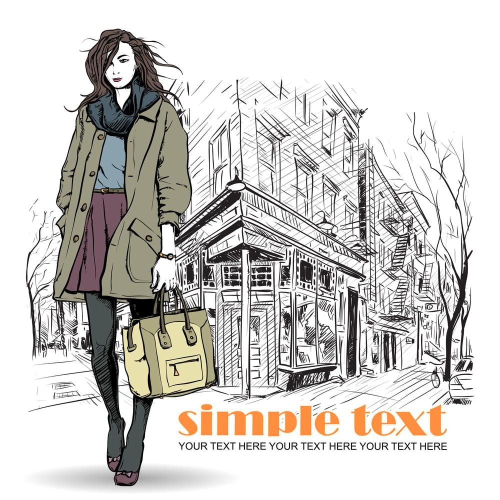Lovely Winter Girl On A Street Cafe Background. Vector Illustration