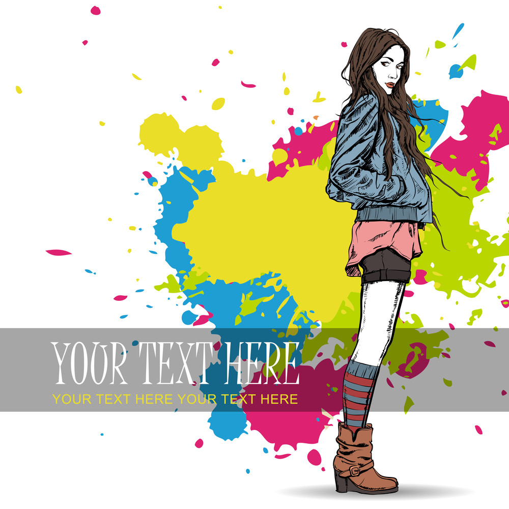Lovely Young Girl In Sketch-style On A Grunge Background. Vector Illustration