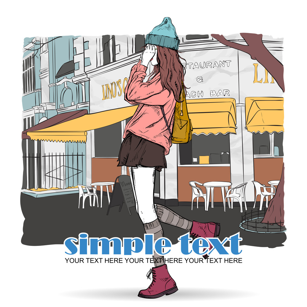 Lovely Young Girl In Sketch-style On A Street Cafe Background. Vector Illustration