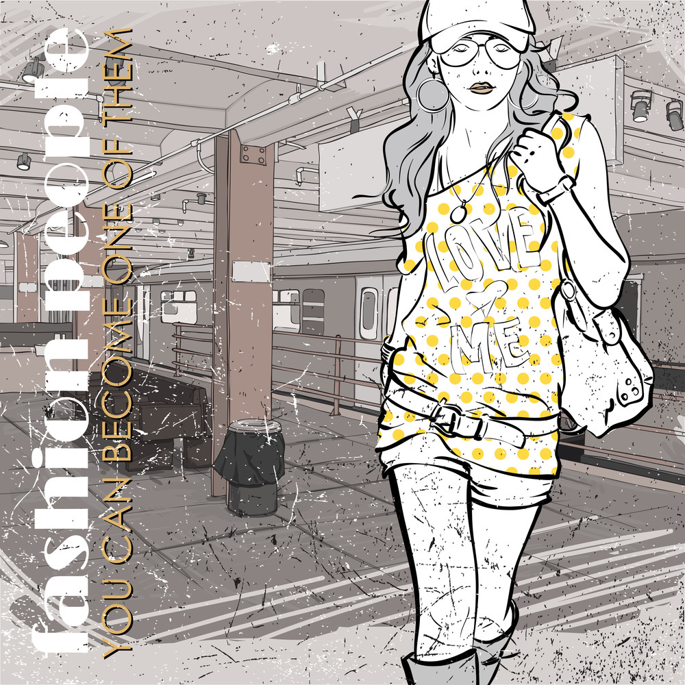Lovely Young Girl In Sketch-style On A Subway Station. Vector Illustration