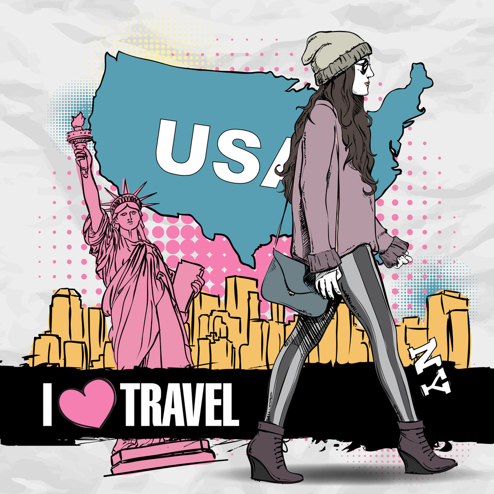 Lovely Young Girl In Sketch-style On A Usa Background. Vector Illustration