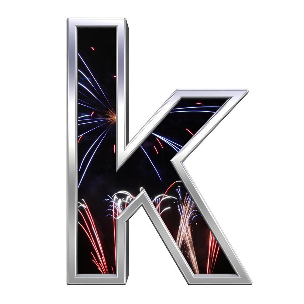 Lower Case Letter From Firework With Chrome Frame Alphabet Set