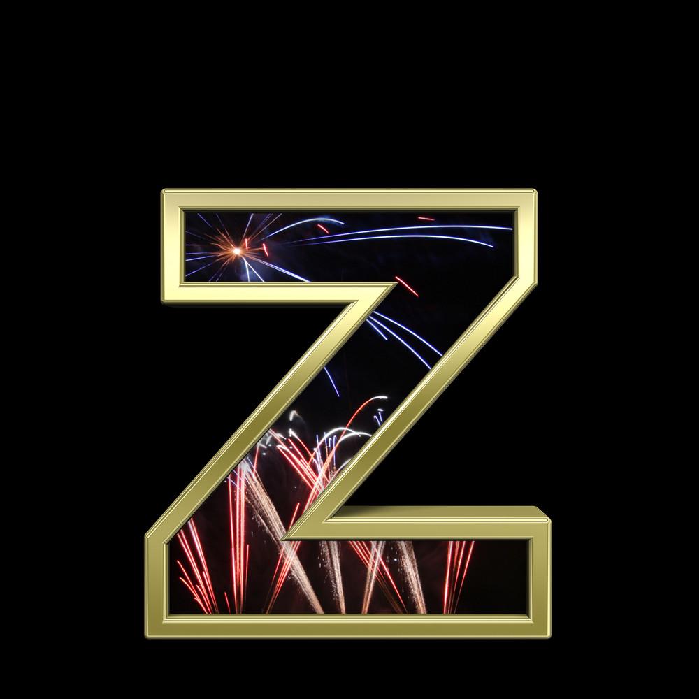 Lower Case Letter From Firework With Gold Frame Alphabet Set