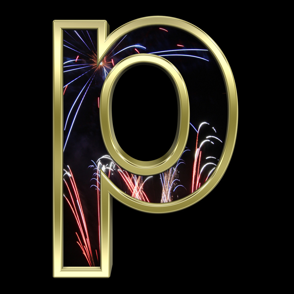 Lower Case Letter From Firework With Gold Frame Alphabet Set