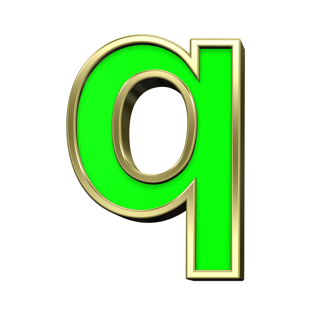 Lower Case Letter From Light Green With Gold Alphabet Set