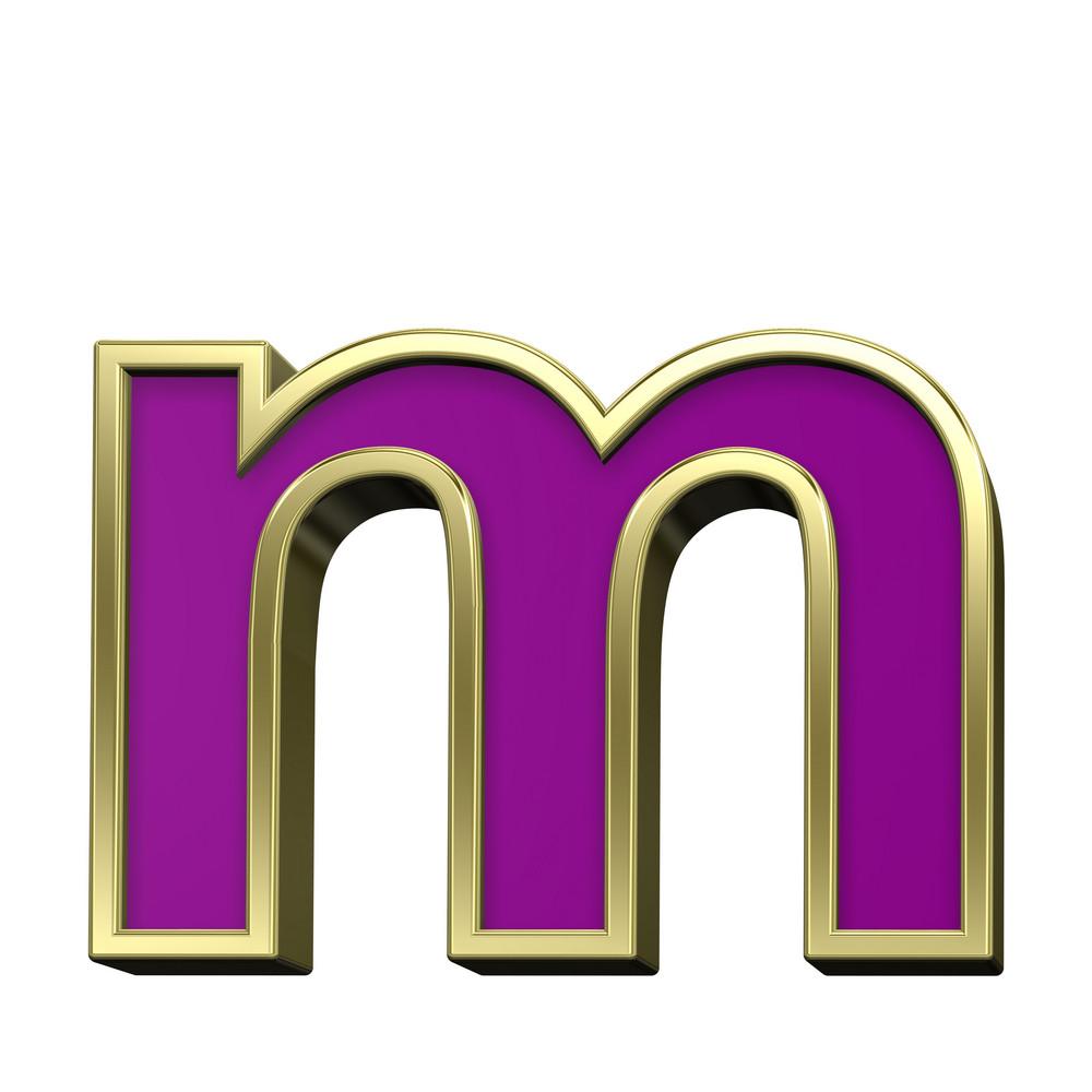 Lower Case Letter From Violet With Gold Frame Alphabet Set
