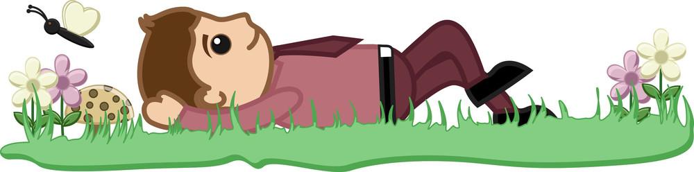 Lying On Grass Vector Illustration