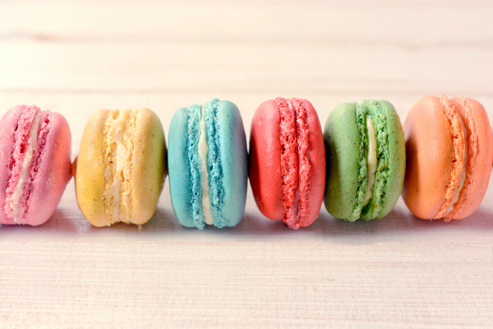Macaroon Cookies On White Background