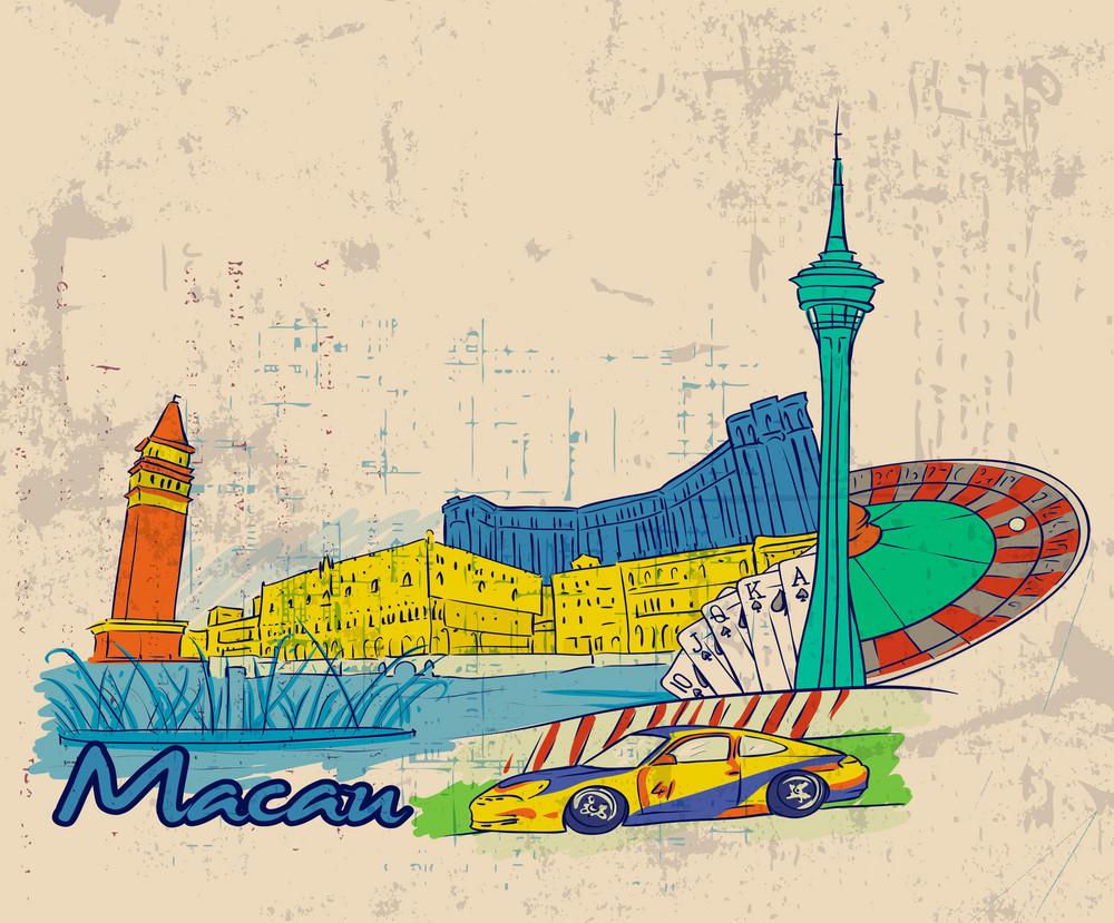Macau Doodles With Grunge Background Vector Illustration
