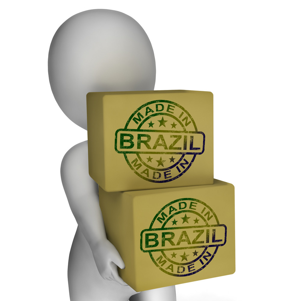 Made In Brazil Stamp On Boxes Shows Brazilian Products