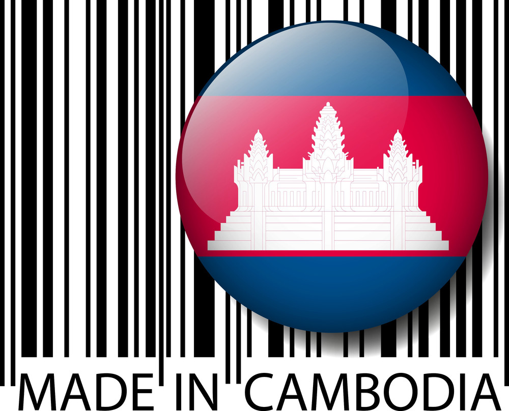 Made In Cambodia Barcode. Vector Illustration