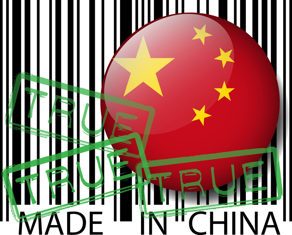 Made In China Barcode - True. Vector Illustration