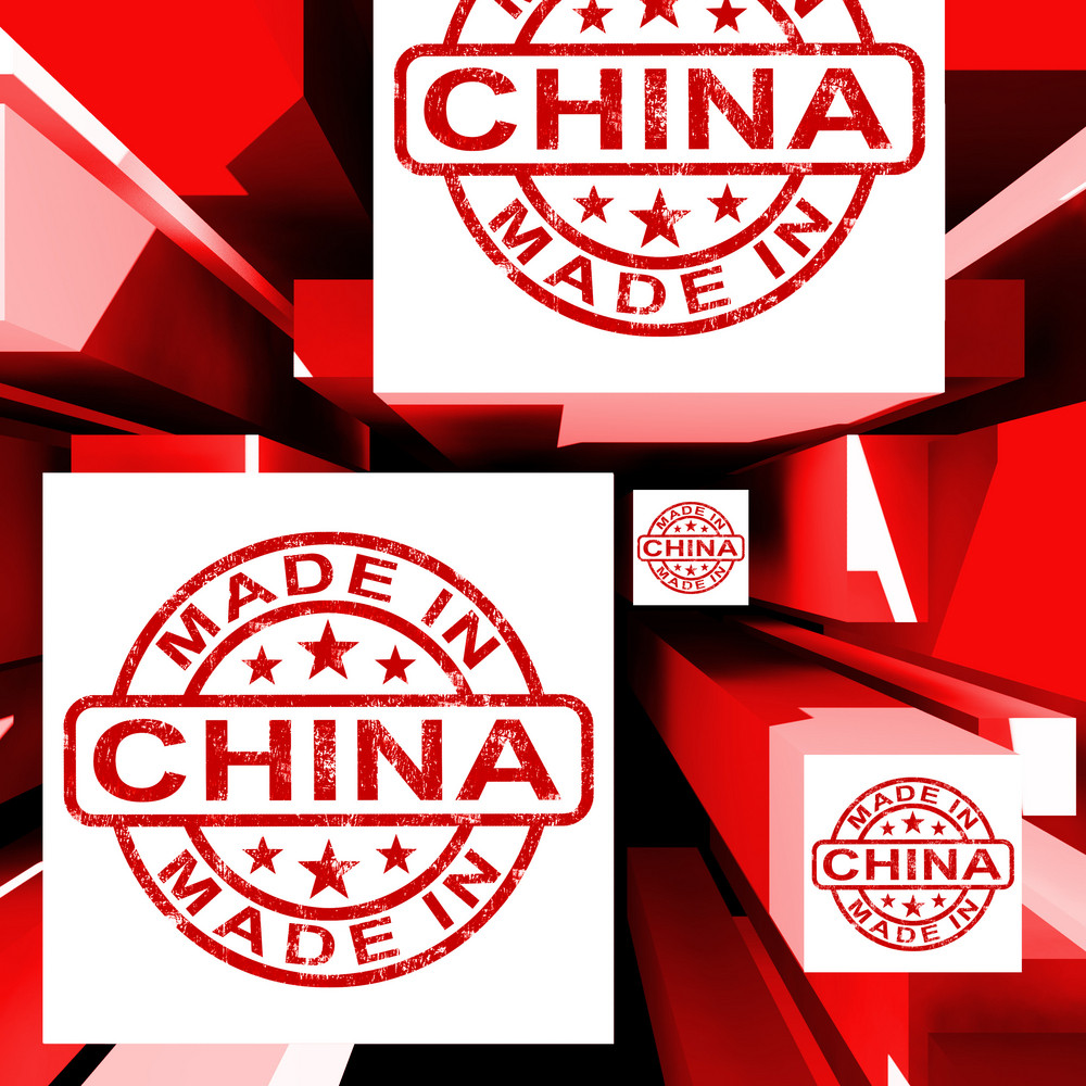 Made In China On Cubes Showing Chinese Products