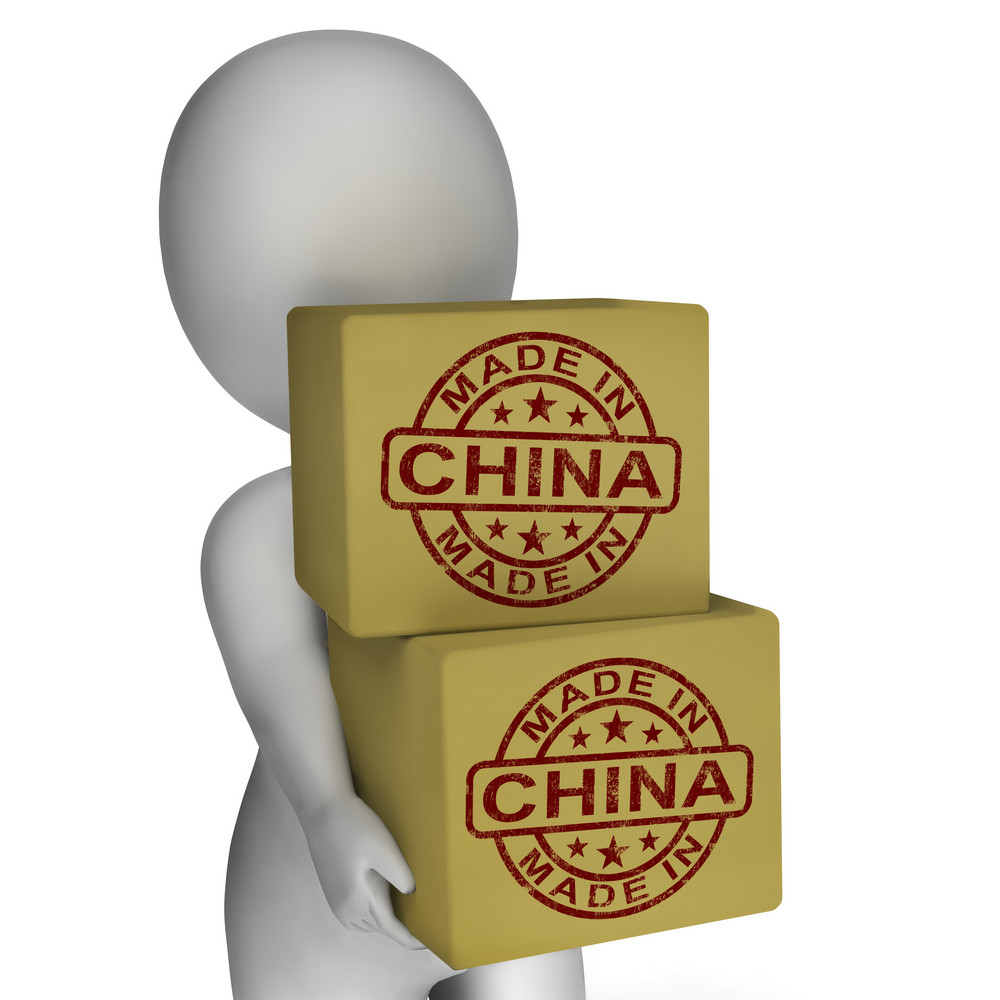 Made In China Stamp On Boxes Shows Chinese Products