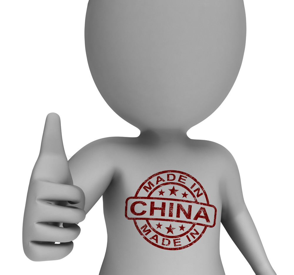 Made In China Stamp On Man Shows Chinese Products