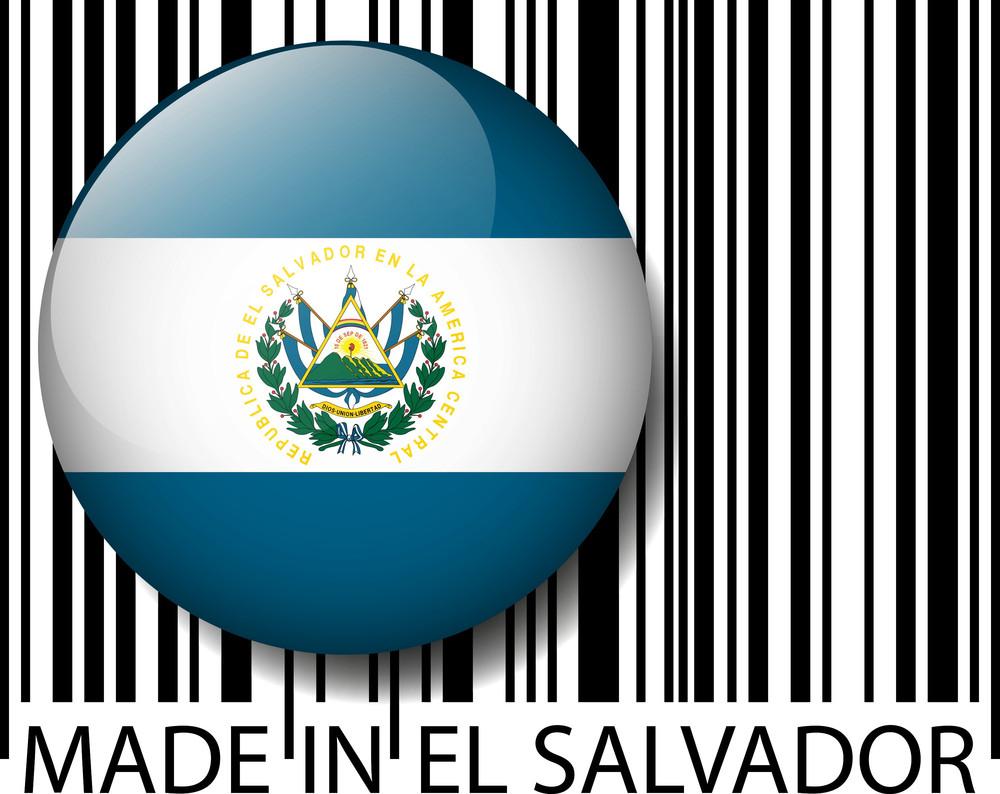 Made In El Salvador Barcode. Vector Illustration