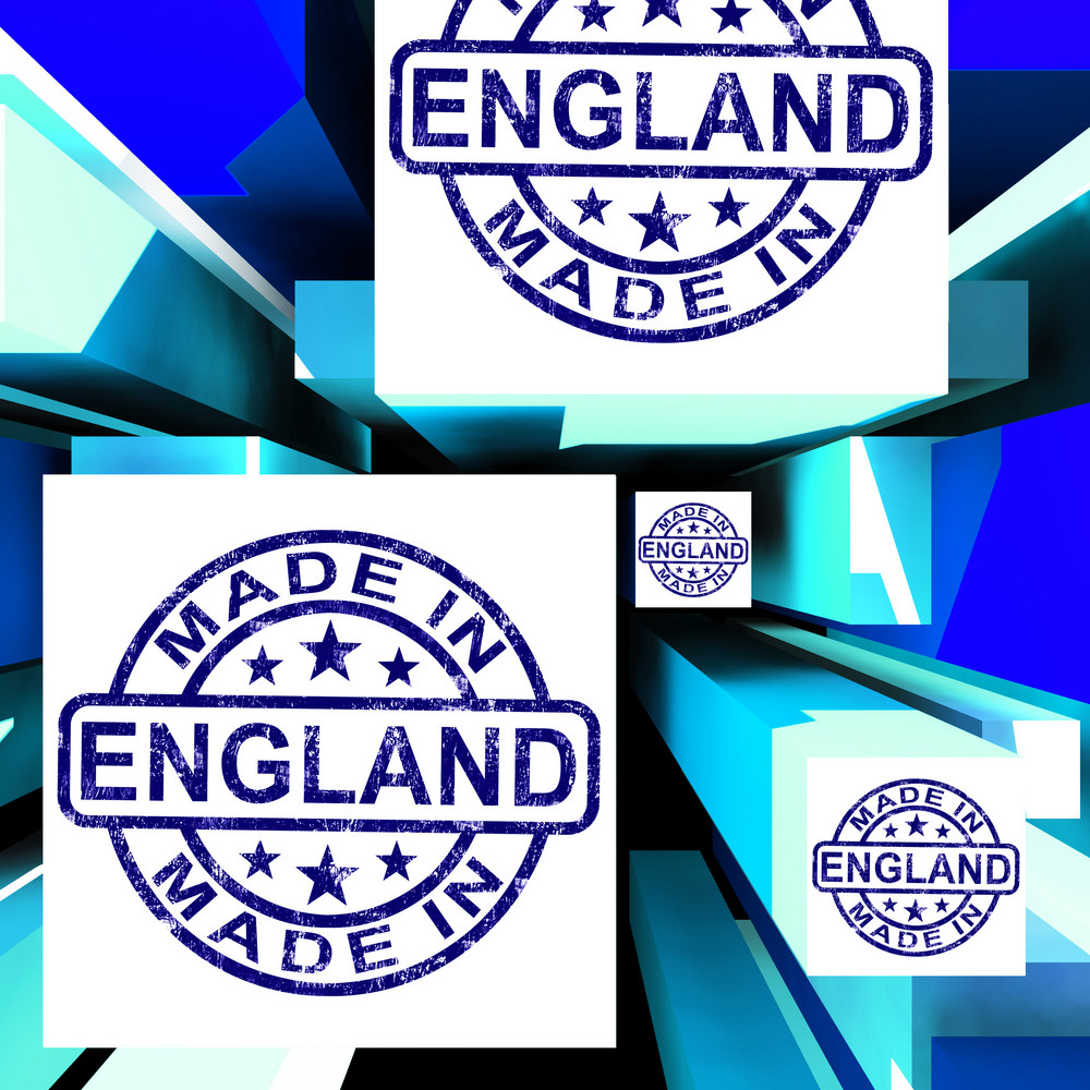 Made In England On Cubes Shows English Production