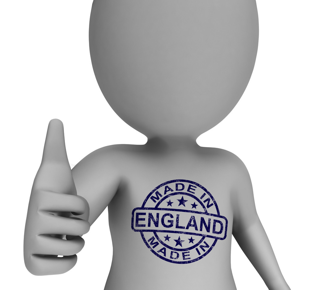 Made In England Stamp On Man Shows English Products Approved