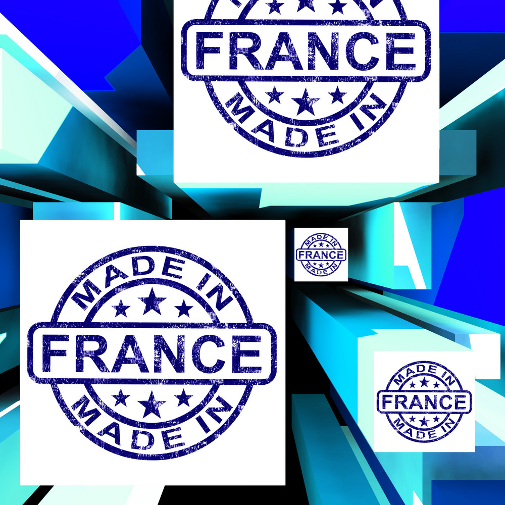 Made In France On Cubes Showing French Factories