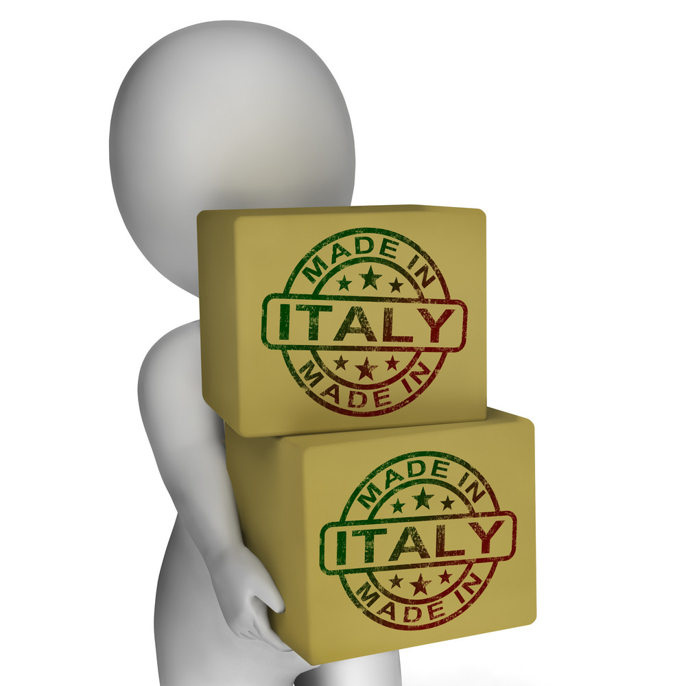 Made In Italy Stamp On Boxes Shows Italian Products