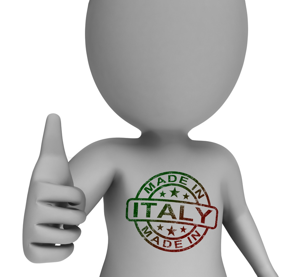 Made In Italy Stamp On Man Shows Italian Products Approved
