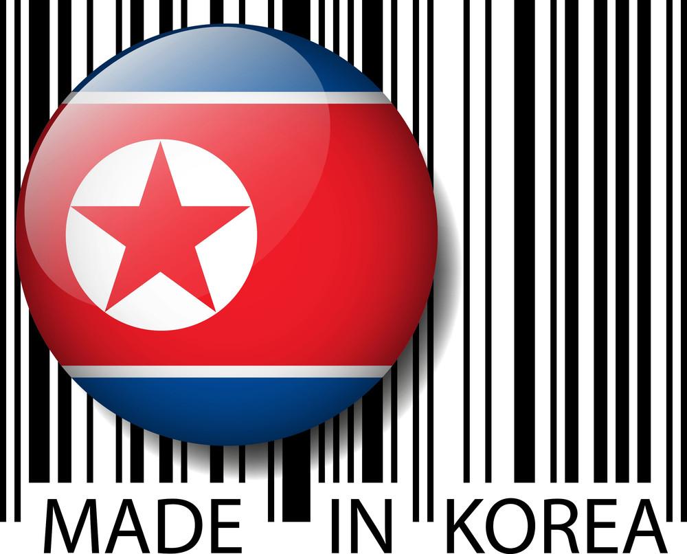 Made In North Korea Barcode. Vector Illustration