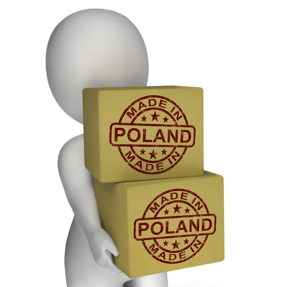 Made In Poland Stamp On Boxes Shows Polish Products