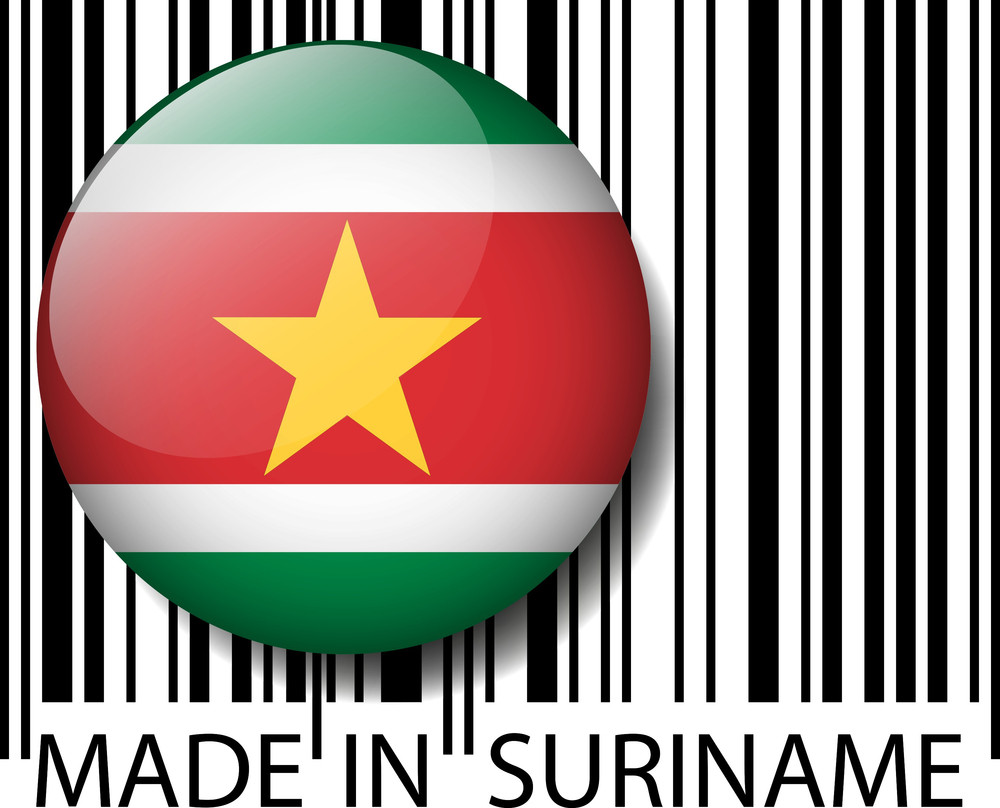 Made In Suriname Barcode. Vector Illustration