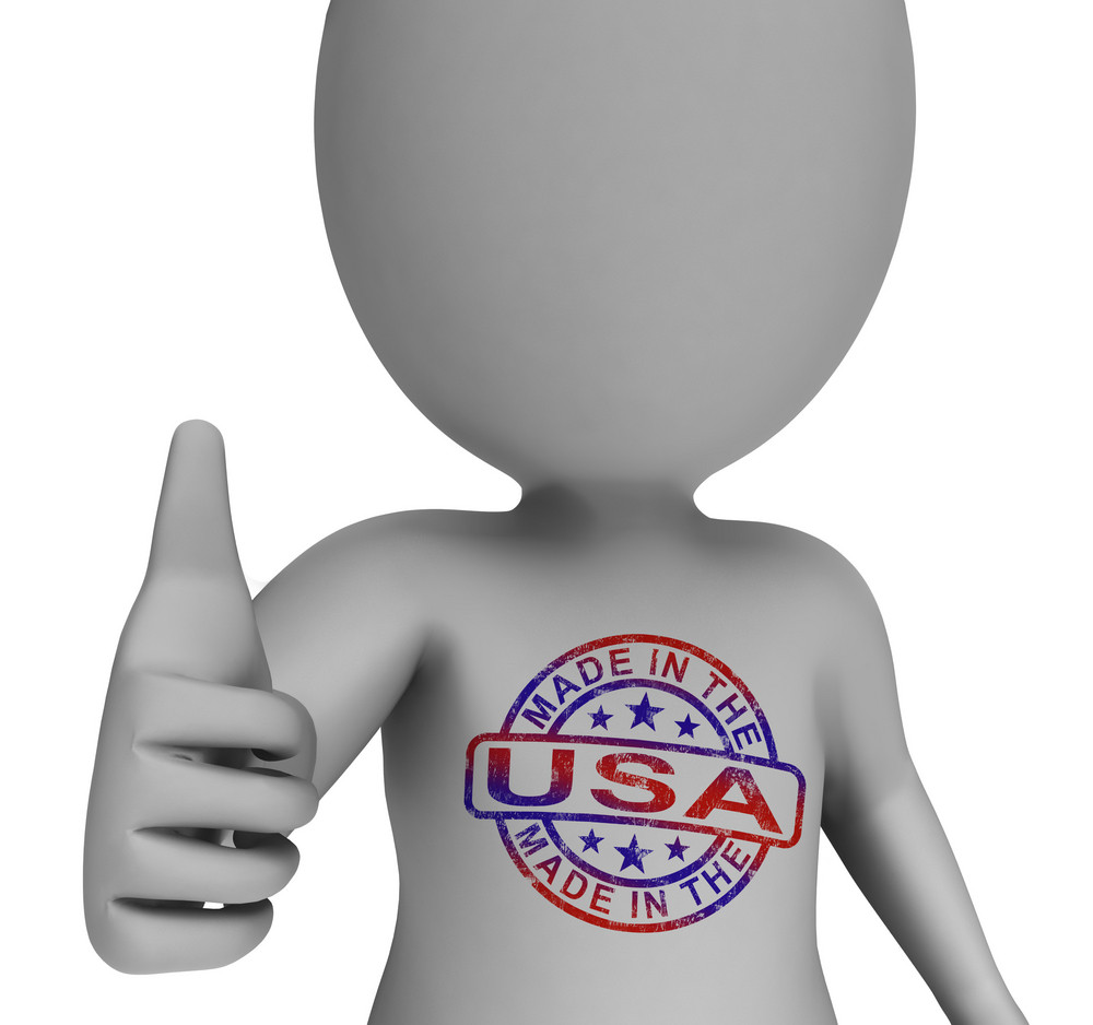 Made In Usa Stamp On Man Shows Excellent American Products