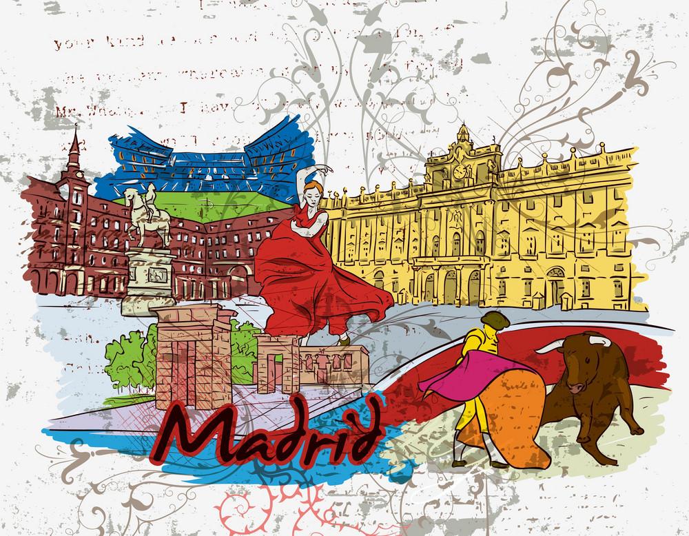 Madrid Doodles With Grunge Background Vector Illustration