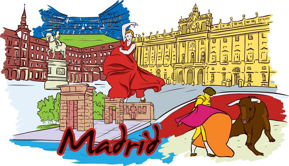 Madrid Vector Doodle