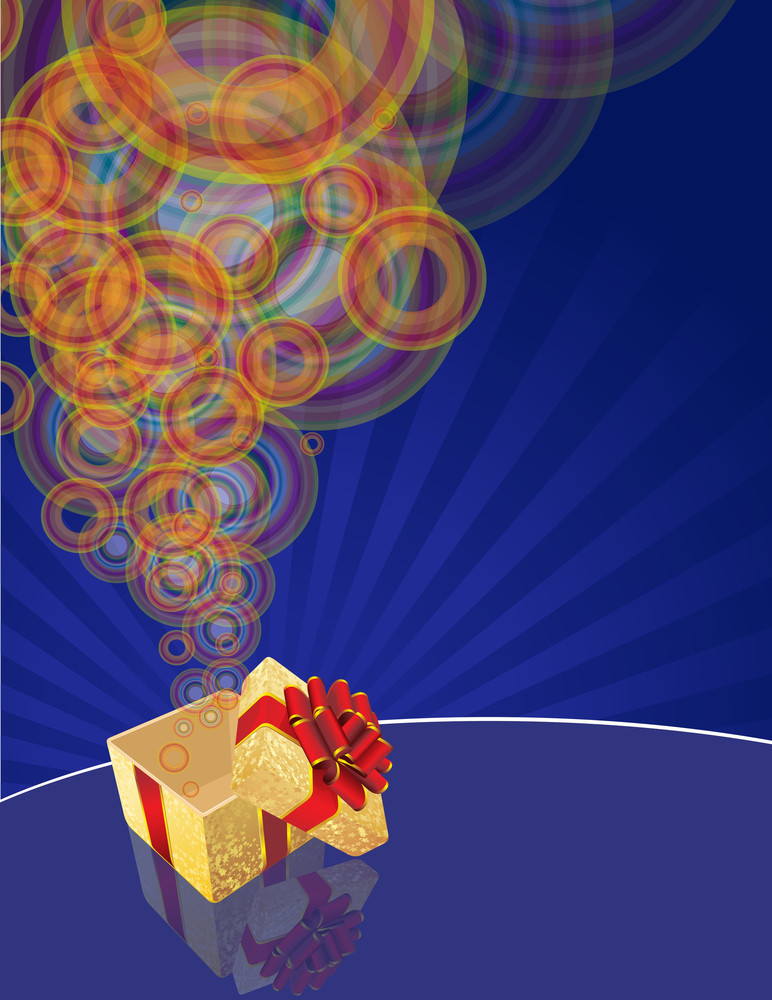 Magic Gift Box With Red Ribbon And Golden Stars. Vector.
